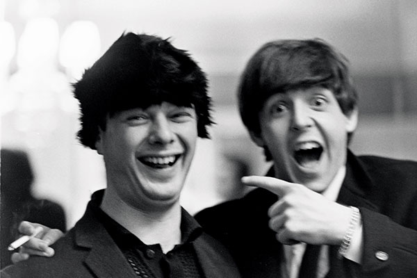 Beatles Manager Brian Epstein In A Beatle Wig With Paul McCartney New York 1964 It Was Rare To Capture Laughing Ringo Says