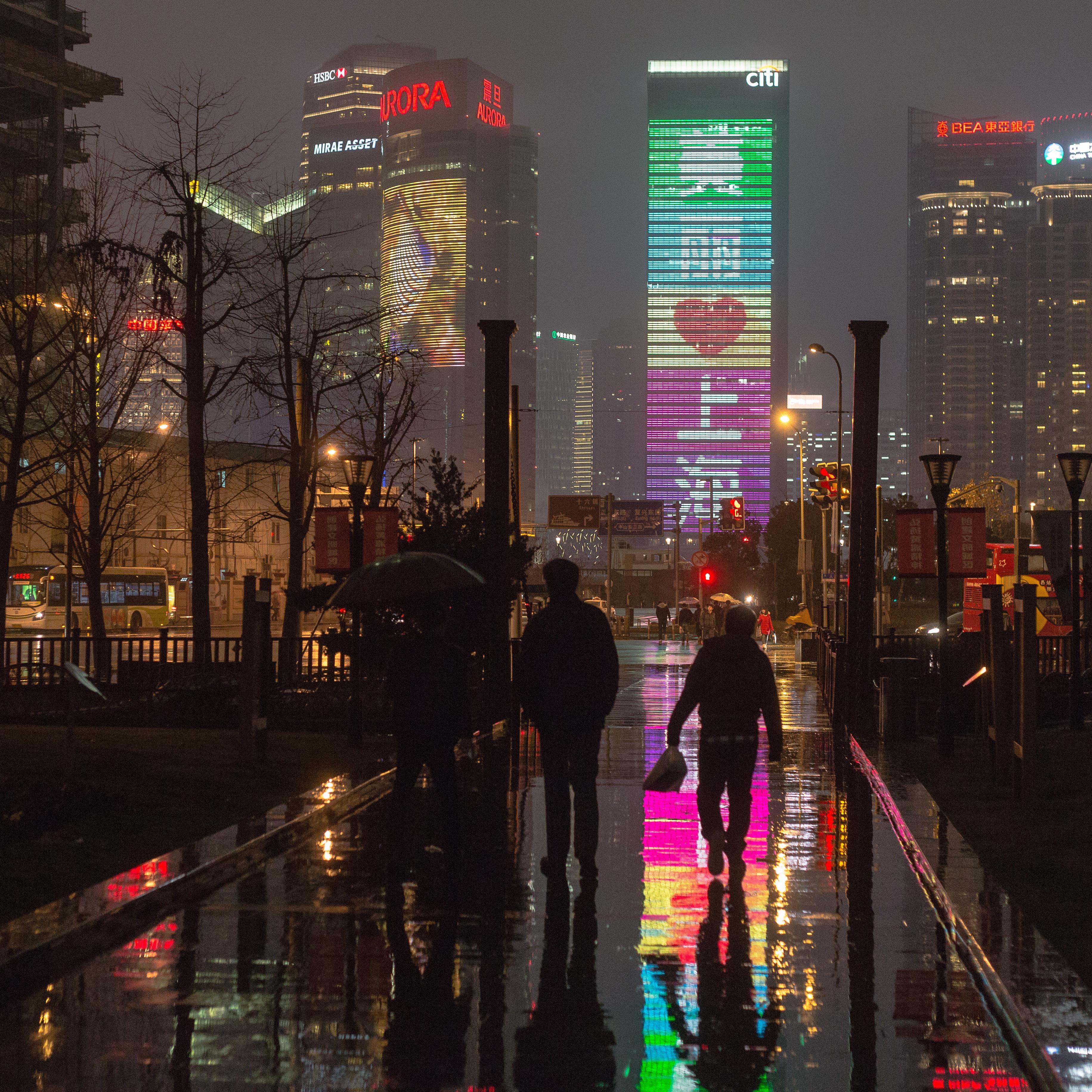 shanghai rainy night