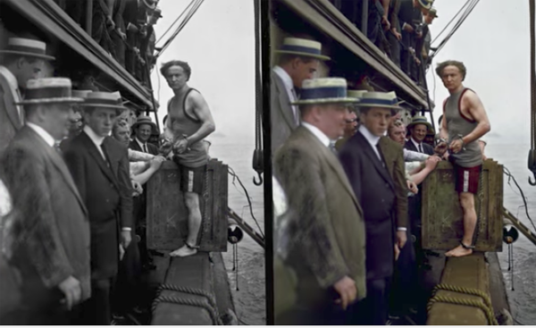 The accurate colorization of old black and white photos involves a combination of artistry painstaking research physics and digital technology