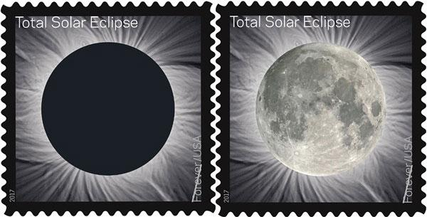 Rub This Stamp with Your Finger & It Switches from an Image of an Eclipse to a Photograph of the Full Moon